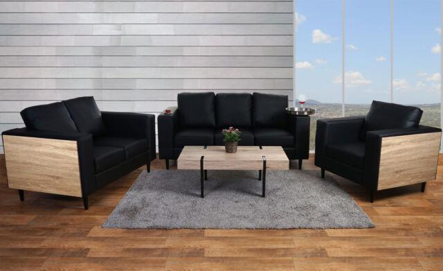 3-2-1 Sofagarnitur Cannes, Holz Eiche-Optik Kunstleder schwarz, Couch