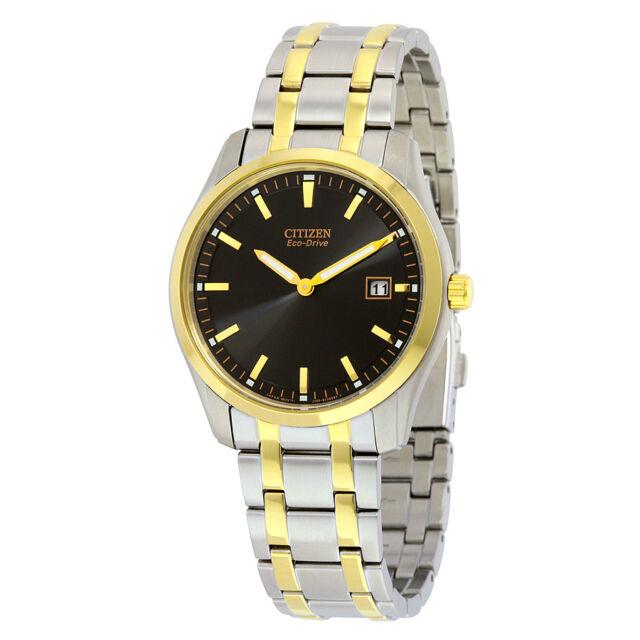 Citizen Eco-Drive Mens Bracelet Black Dial Watch AU1044-58E-AU
