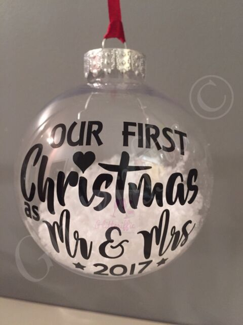 X2 Our First Christmas as Mr  Mrs 2017 Vinyl Sticker DIY Bauble