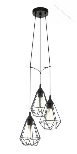 Lampe Leuchte Vintage Retro Hängelampe Pendelleuchte schwarz kupfer 3xE27 Eglo