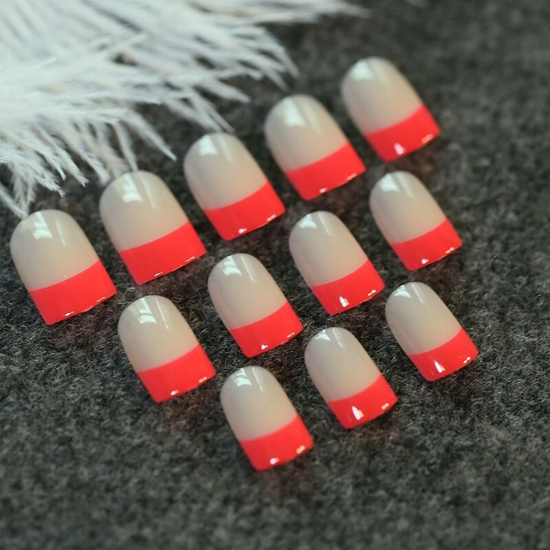 Bright Red French Nail Art Tips Beige Fake Nails Artificial False ...