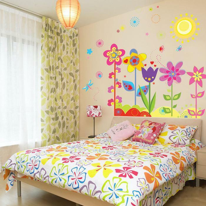 Flowers Sunshine Removable Wall Sticker Decal Wallpaper Baby Kids ...