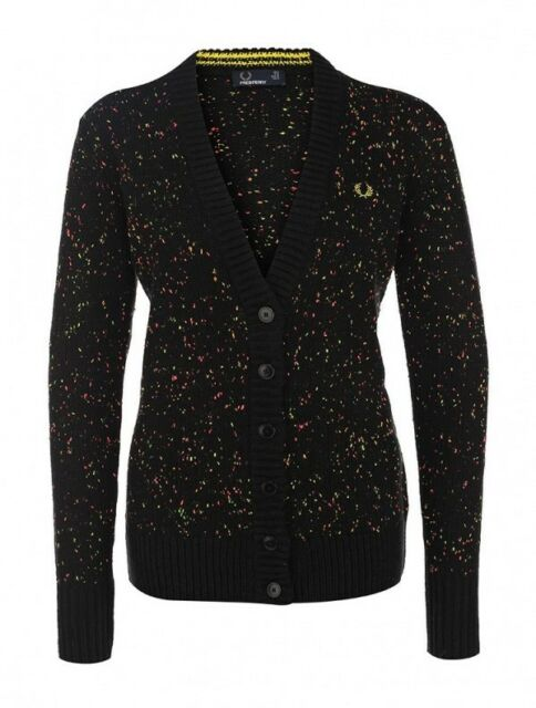 Fred Perry Women's Blurred Spot Longline Cardigan Ladies Sweater ...