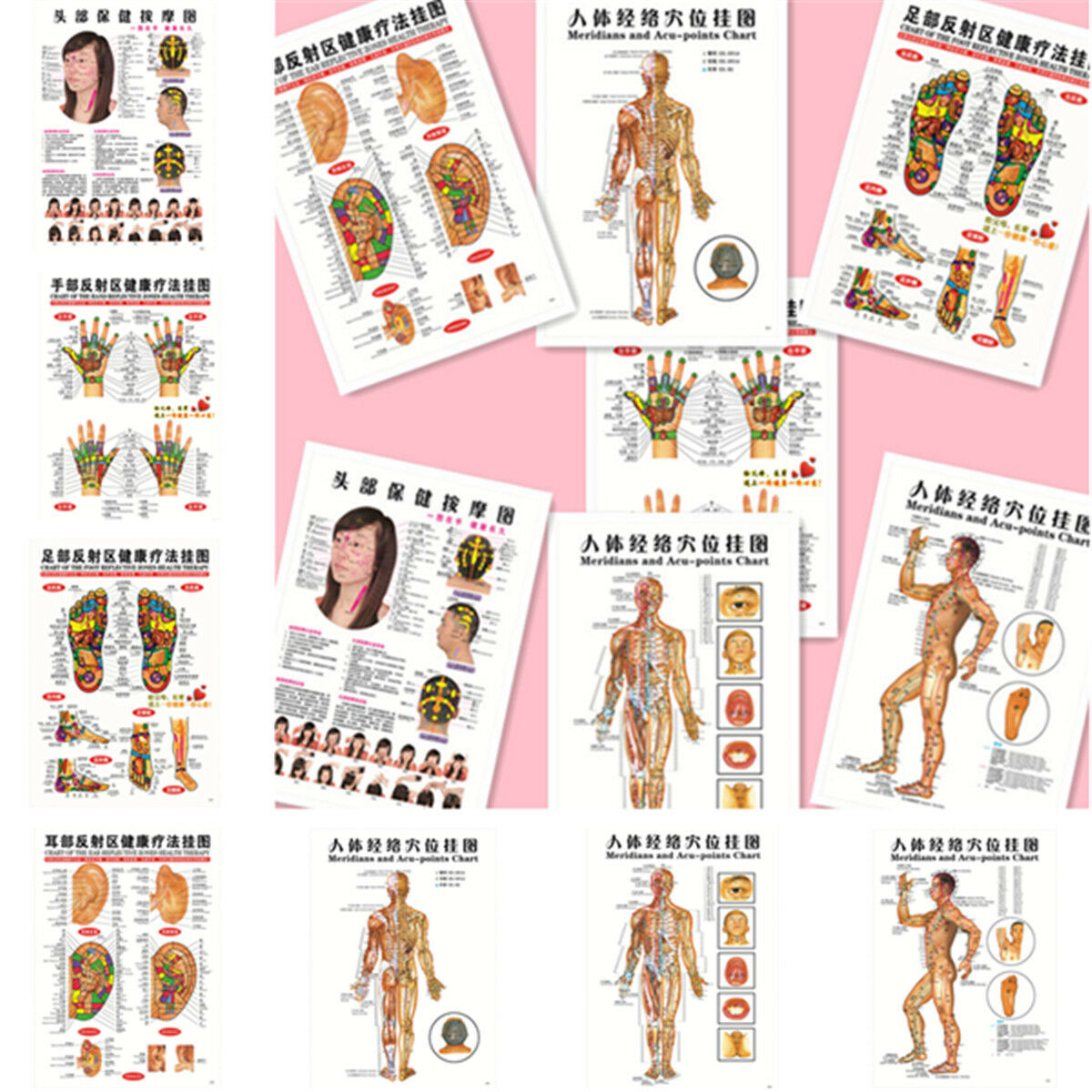 Acupuncture point ebay 7pcsset english acupuncture meridian acupressure points posters chart wall map nvjuhfo Gallery