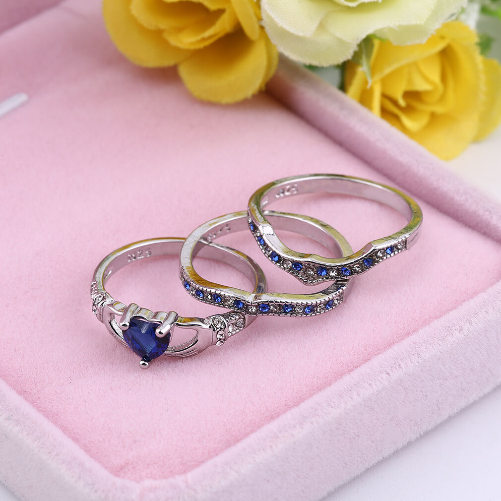 Three Layer Copper Blue Crystal Plated Rings Charm Party Love Finger ...