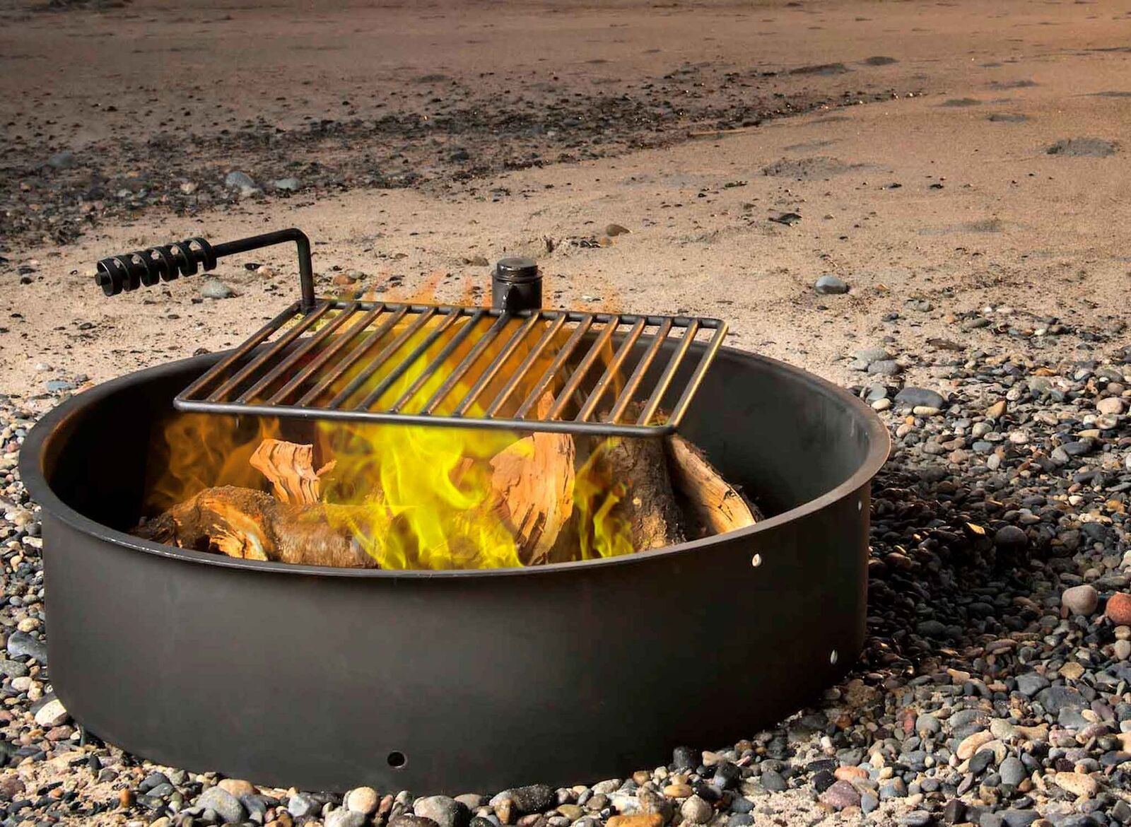 36 steel fire ring with cooking grate campfire pit park grill bbq
