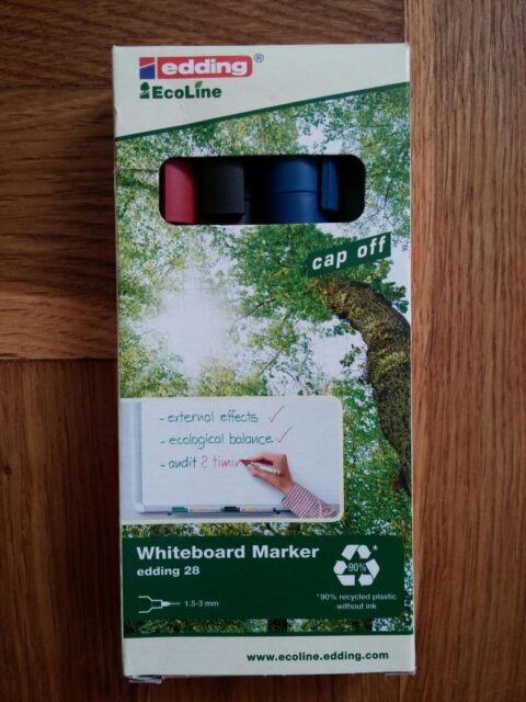 White Board Whiteboard Marker edding 28 nachfüllbar 4 Stifte Farben eco ecoline
