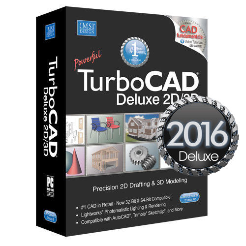 TurboCAD Deluxe 2016 2D CAD Design Software U0026 3D Modeling DVD New