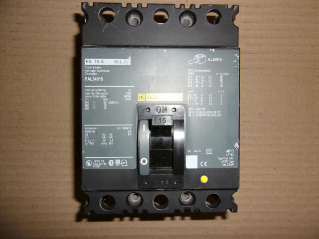 Square D FAL34015 3 Pole 15 Amp Circuit Breaker | eBay