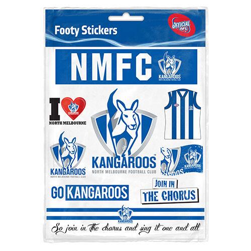 Nth melbourne kangaroos official afl logo sticker sheet postage ebay