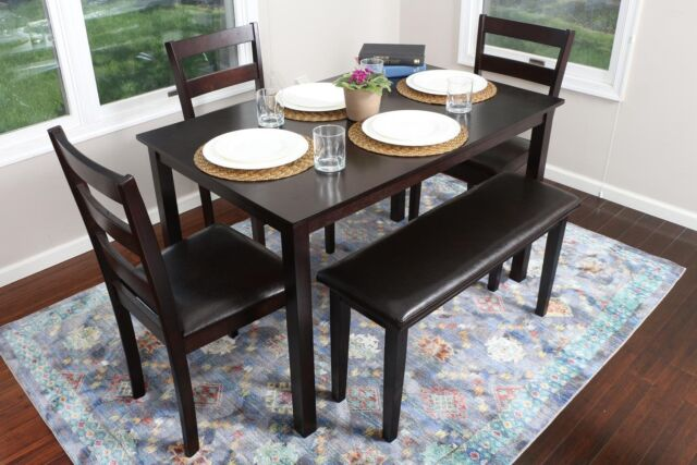 5pc ESPRESSO Dining Table Set Dinette Chairs Bench kitchen nook breakfast bar & 5pc Espresso Dining Table Set Dinette Chairs Bench Kitchen Nook ...