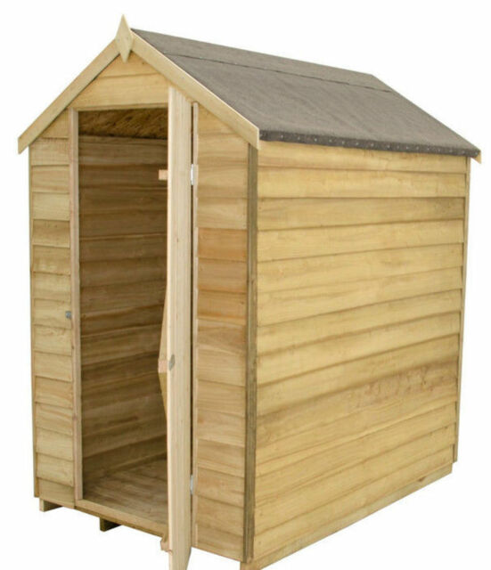 6x4 WOODEN GARDEN STORAGE SHED PRESSURE TREATED WINDOWLESS 6ft X 4ft APEX  WOOD