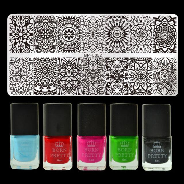 6pcs/set Mandala Floral Nail Art Stamping Polish Set Stamp Image ...