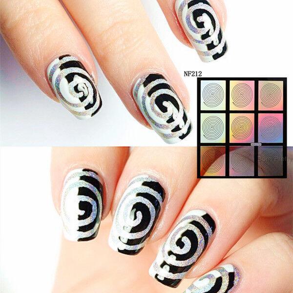 9 Tips/sheet Nail Art Holo Vinyls Print Stencil Stickers Manicure ...