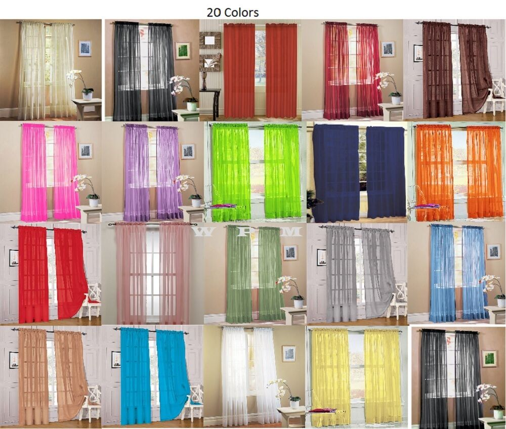 2 piece sheer voile window curtain panel drapes more than 15 colors lime green ebay