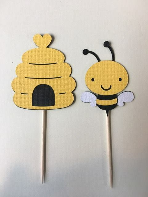 Bees and Bee Hive Cupcake Toppers. Set of 24 Baby Shower Birthday ...