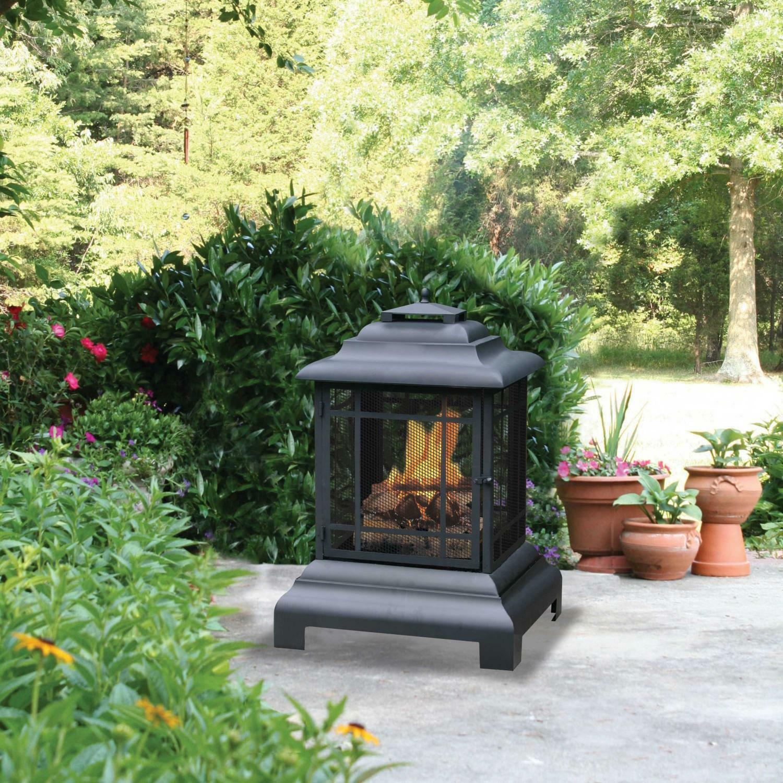 outdoor wood burning fireplace fire pit patio backyard deck heater