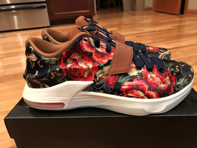 Nike KD VII 7 EXT Floral Midnight Navy Hazelnut QS 726438 400 Sz 9.5