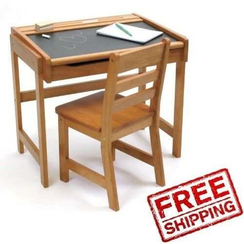 Kids desk set chair wood table chalkboard home study for Best desk chair for kids