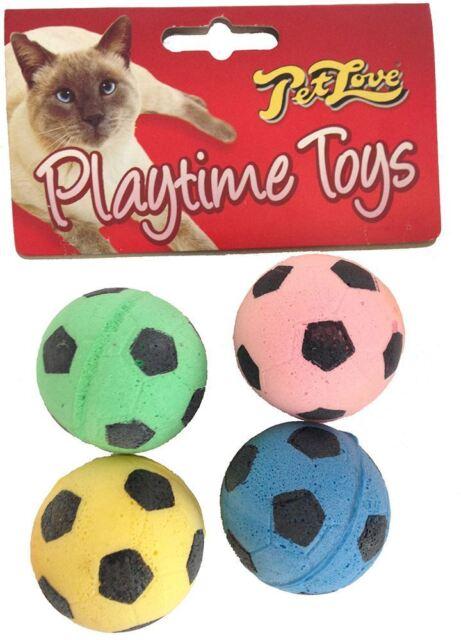 Interpet - Pet Love Sponge Footballs Cat Toy - 4 Pack