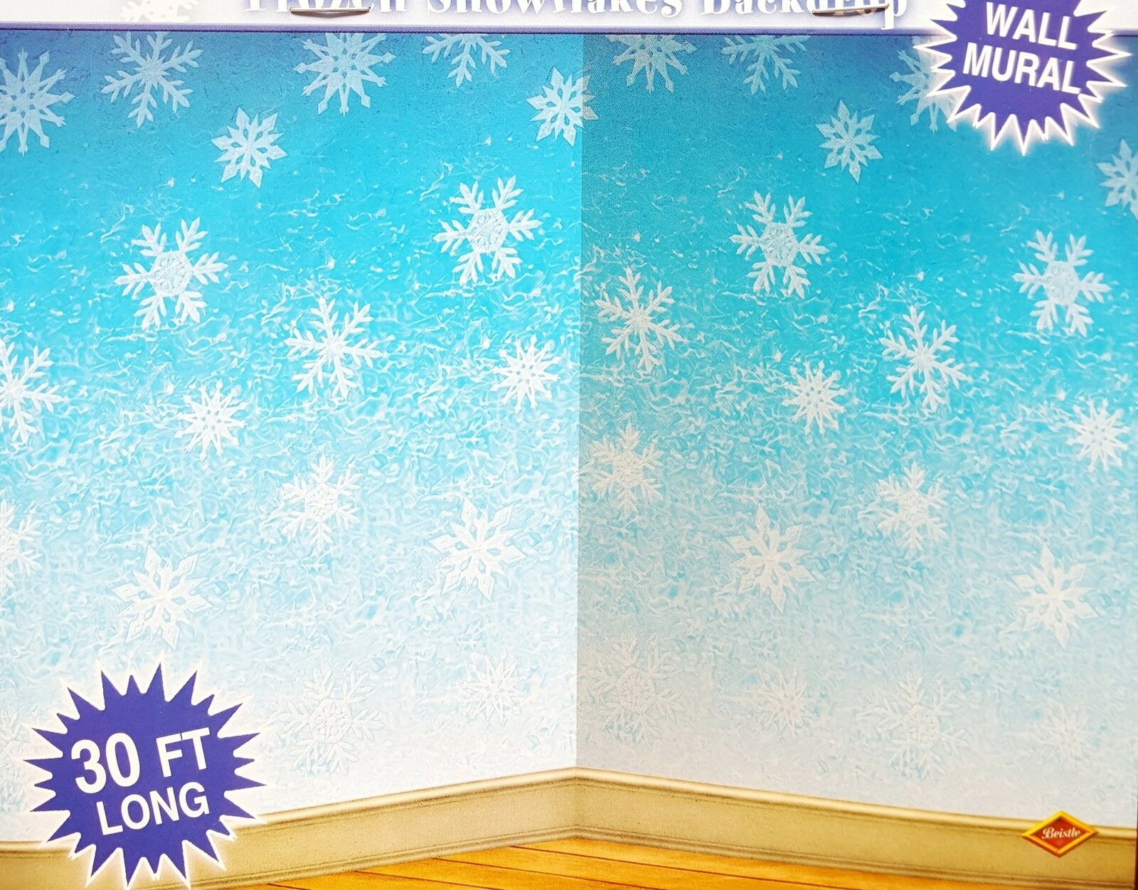 Wonderful 30ft Frozen Snowflake Winter Wall Mural Christmas Scene Setter Photo  Backdrop Part 25