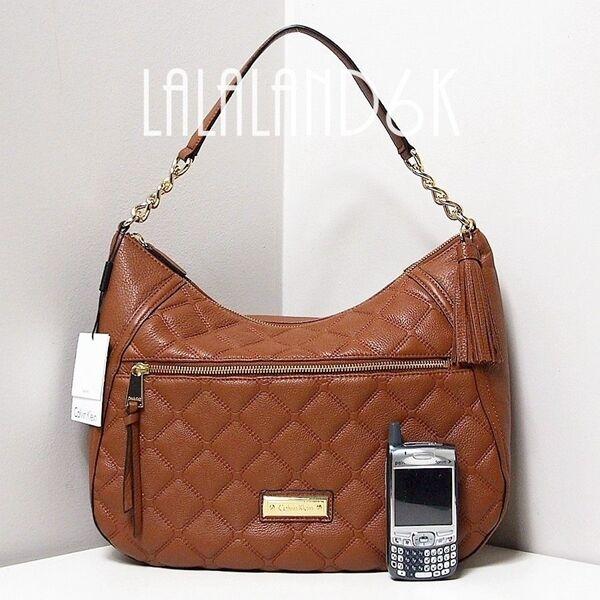 Calvin Klein Ck Luggage Medium Brown Quilted Leather Fringe Hobo Bag Handbag Ebay