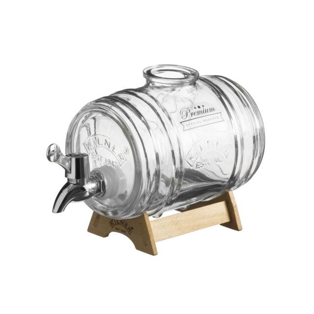 Kilner 1L Glass Spirits Liquor Drinks Water Barrel Dispenser with Wooden Stand