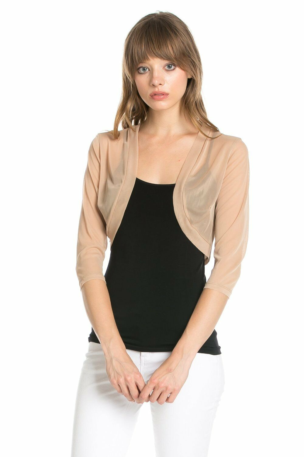 Fashion Secrets Taupe Brown Chiffon Bolero Shrug Cropped Sweater ...