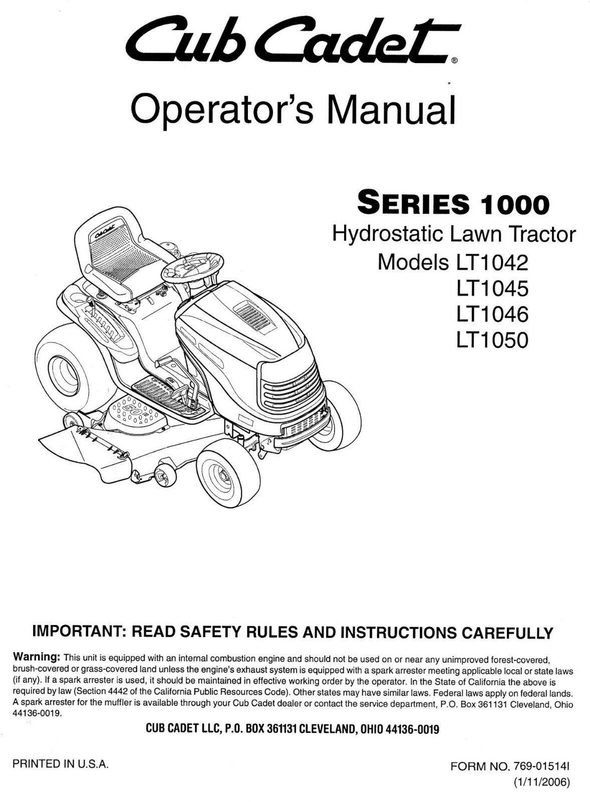 cub cadet models lt1042 lt1045 lt1046 and lt1050 owners operators rh ebay com cub cadet lt 1050 service manual cub cadet ltx 1050 user manual
