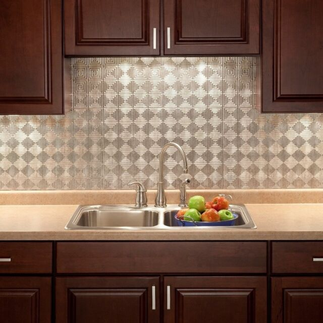 Kitchen Backsplash Decorative Silver Vinyl Panel Wall Tiles Bathroom ...