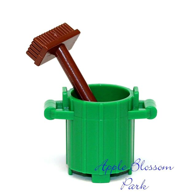 Lego Minifig Green Trash Bin & Brown Broom City Garbage Barrel ...