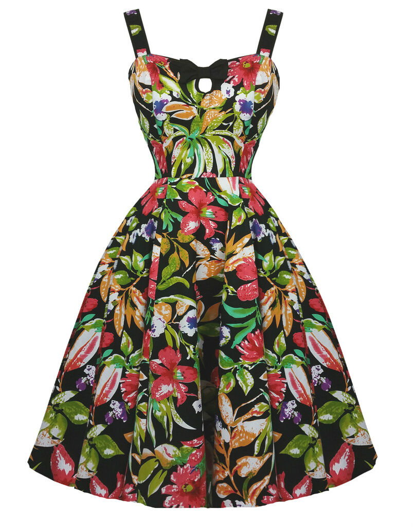 H & R London Hawaiian Lily Holiday Swing Dress Retro Pin up ...