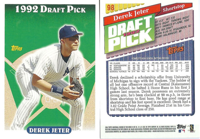2006 Topps Draft Pick Derek Jeter New York Yankees #98