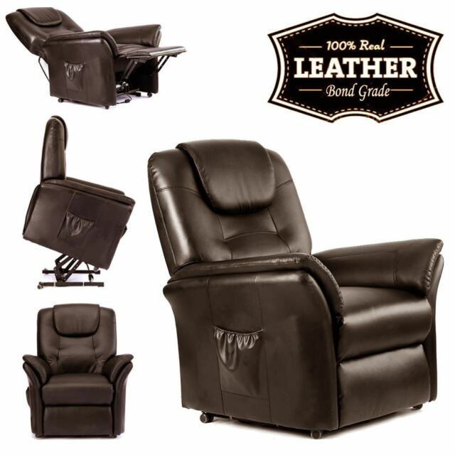 WINDSOR BROWN ELECTRIC RISE RECLINER REAL LEATHER ARMCHAIR SOFA LOUNGE CHAIR