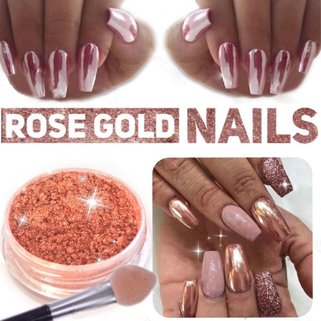 Mirror powder chrome effect pigment nails rose gold silver nail mirror powder chrome effect pigment nails new rose gold silver nail art prinsesfo Image collections