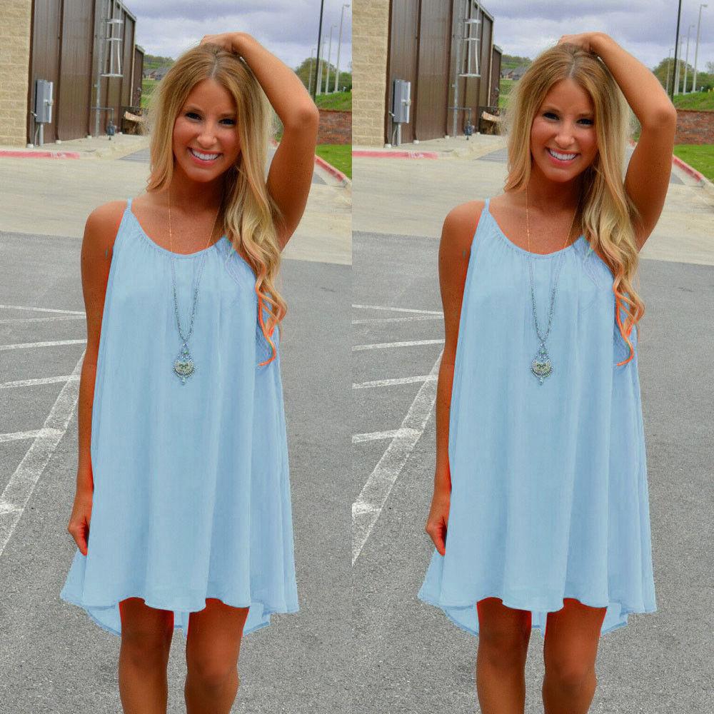 US Womens Summer Short Mini Dress Ladies Sleeveless Beach Evening ...