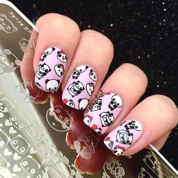 Born Pretty Nail Art Stamp Image Plate Cute Panda Design Manicure ...