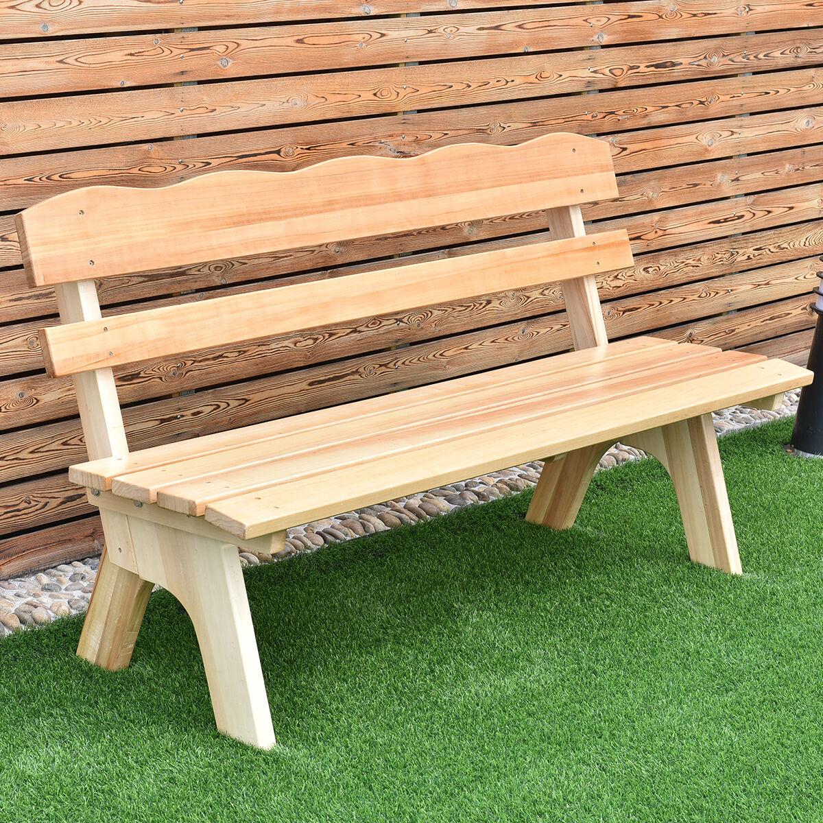 Goplus 5 Feet 3 Seat Outdoor Wooden Garden Bench - Neutral | eBay
