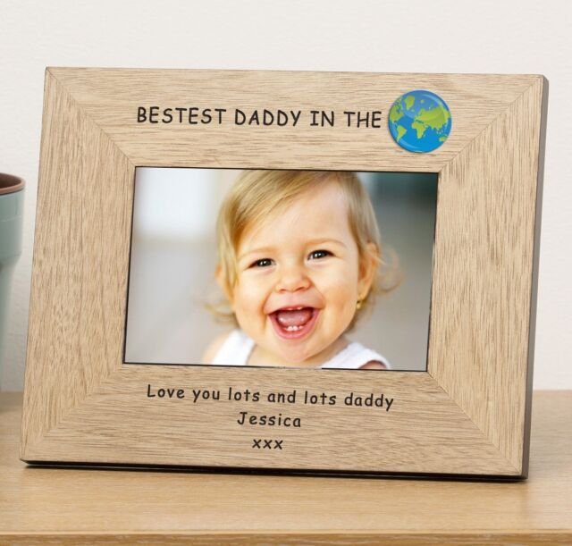 personalised dad photo frame gift presents birthday wood 6x4 frame
