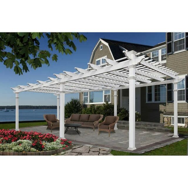 12x24 Ft White Pergola Vinyl Outdoor Patio Garden Shed
