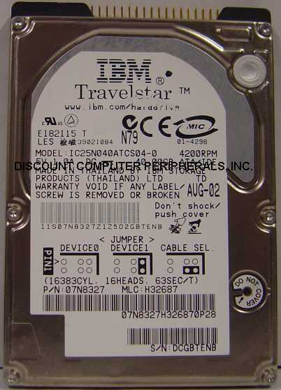 IBM IC25N040ATCS04-0 40GB 2.5in IDE Drive 74 in stock Tested Good Free USA Ship