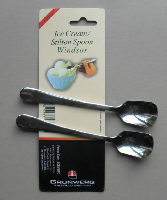 Ice Cream Stilton Stainless Steel Spoon, Pack of 2 Spoons, Windsor by Grunwerg