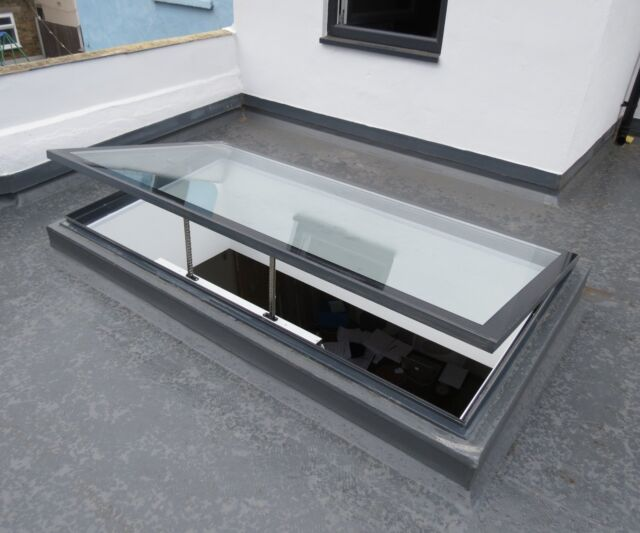 Flat Roof Window Skylight Rooflight Hinged Remote Electric Opening 1000 X  1500mm