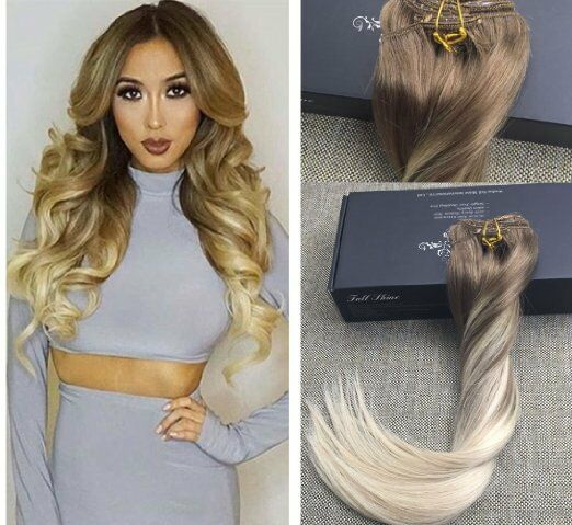 22inch balayage ombre clip in remy human hair extensions ash brown picture 1 of 6 pmusecretfo Choice Image