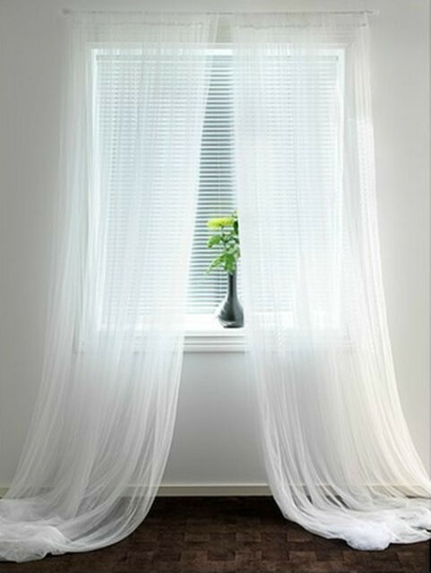 IKEA LILL Lace Curtains 110x98 Inch White Panels | eBay