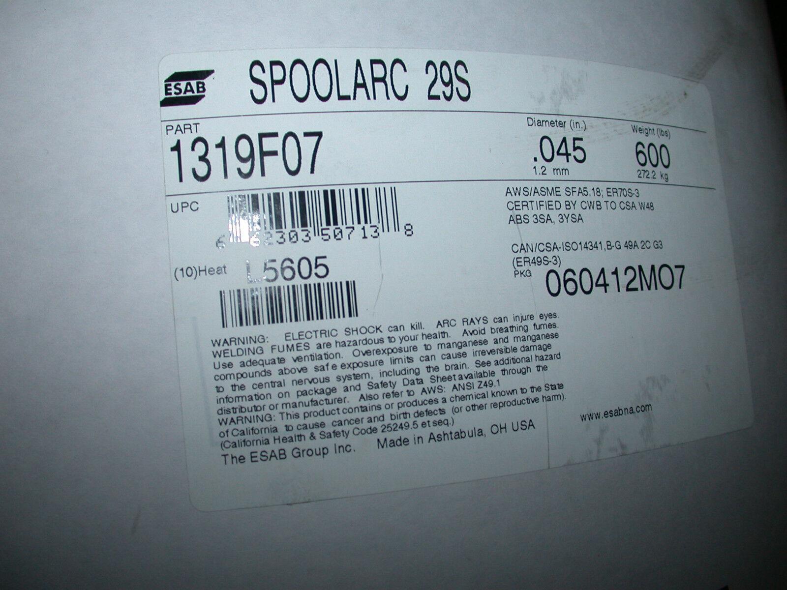 600 LB Spool of ESAB Spoolarc 29 S .045 Welding Wire 1319 F 07 | eBay