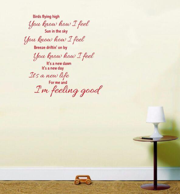 Michael Buble Feeling Good Song Lyrics Wall Art Sticker Red | eBay
