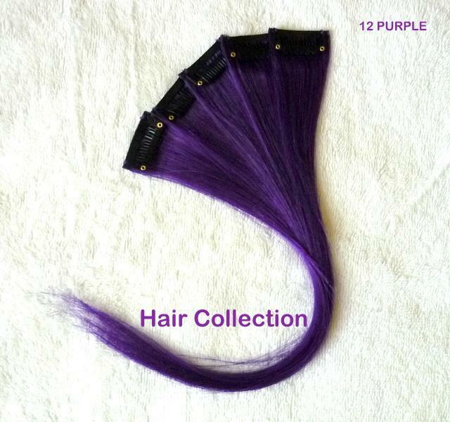12 Purple 100 Human Hair Clip In Extensions For Highlights 5pcs