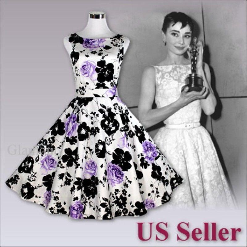 Purple Rose Audrey Hepburn Style 50s Swing Evening Party Wedding