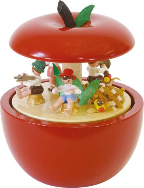 Spieldose - Apfel Kinderkonzert - Glässer aus Seiffen - Original Erzgebirge